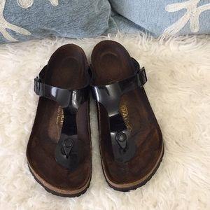 Patent leather Birkenstock sandals